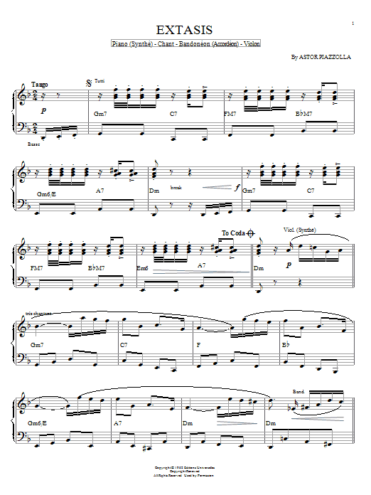 Download Astor Piazzolla 'Extasis' Digital Sheet Music Notes & Chords and start playing in minutes