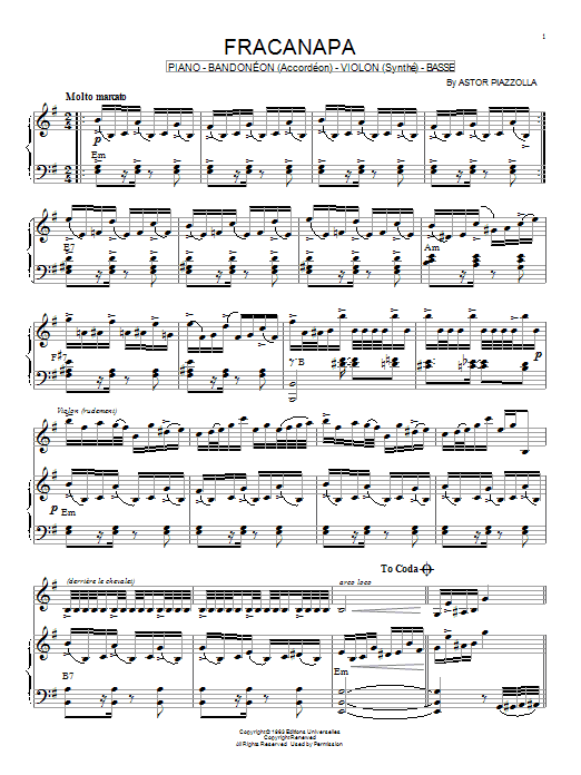 Download Astor Piazzolla 'Fracanapa' Digital Sheet Music Notes & Chords and start playing in minutes