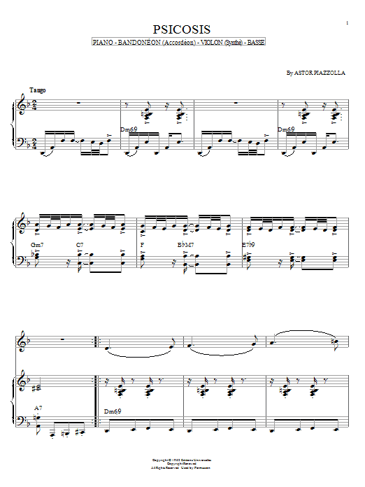 Astor Piazzolla Psicosis sheet music notes and chords