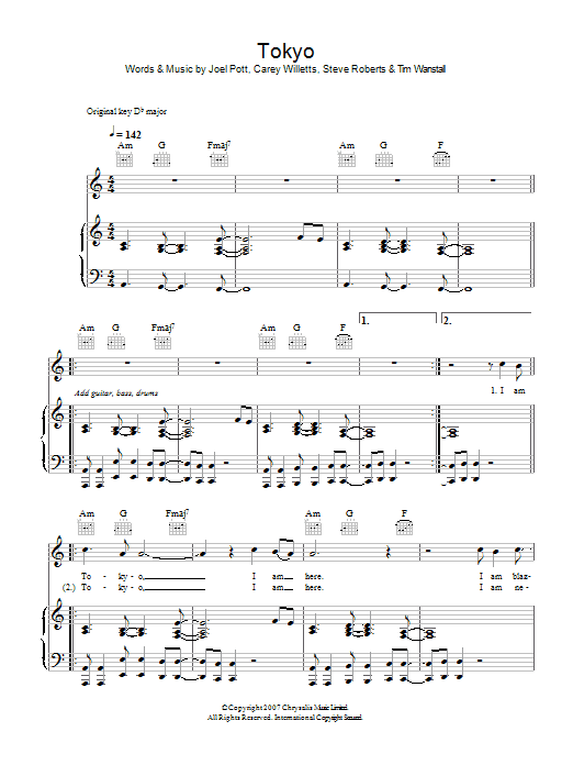 Athlete Tokyo sheet music preview music notes and score for Piano, Vocal & Guitar including 6 page(s)