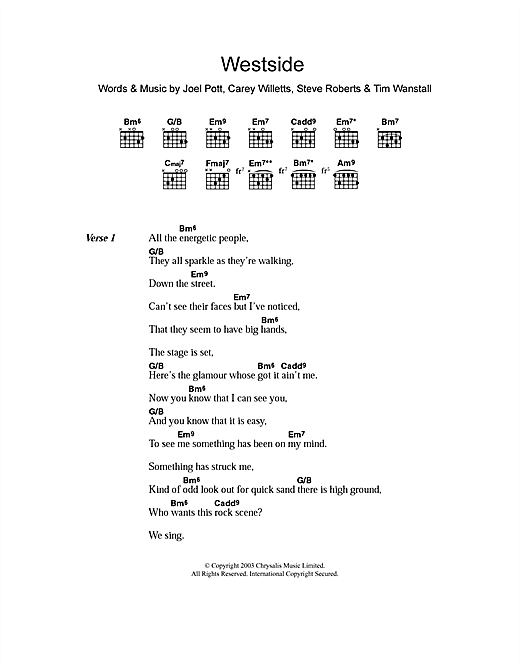 Athlete Westside sheet music notes and chords