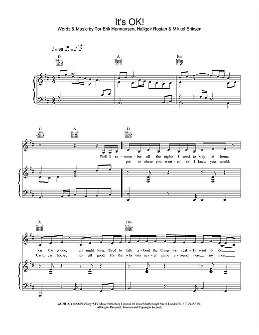 Atomic Kitten It's OK! sheet music notes and chords