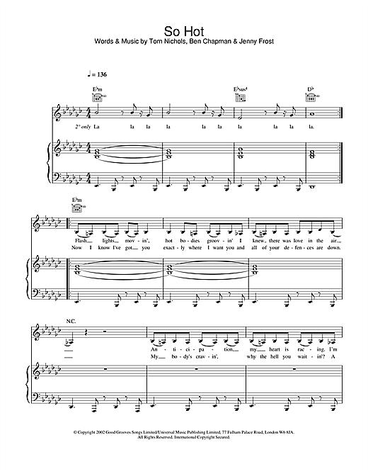 Atomic Kitten So Hot sheet music notes and chords