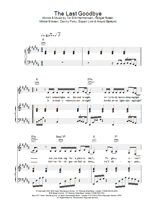Atomic Kitten The Last Goodbye sheet music preview music notes and score for Piano, Vocal & Guitar including 5 page(s)