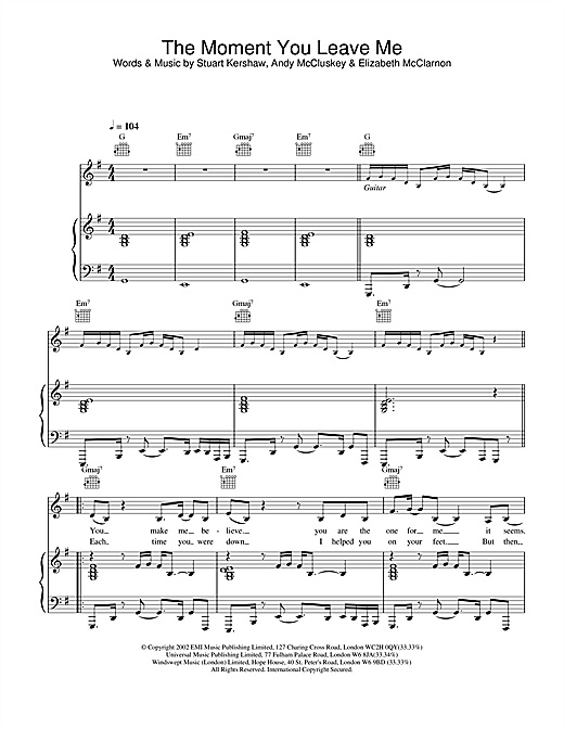 Atomic Kitten The Moment You Leave Me sheet music notes and chords