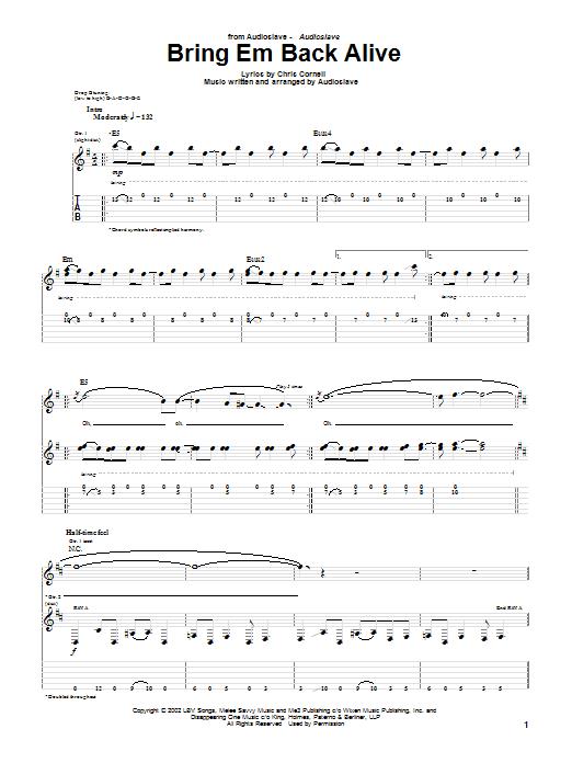 Audioslave Bring Em Back Alive sheet music notes and chords