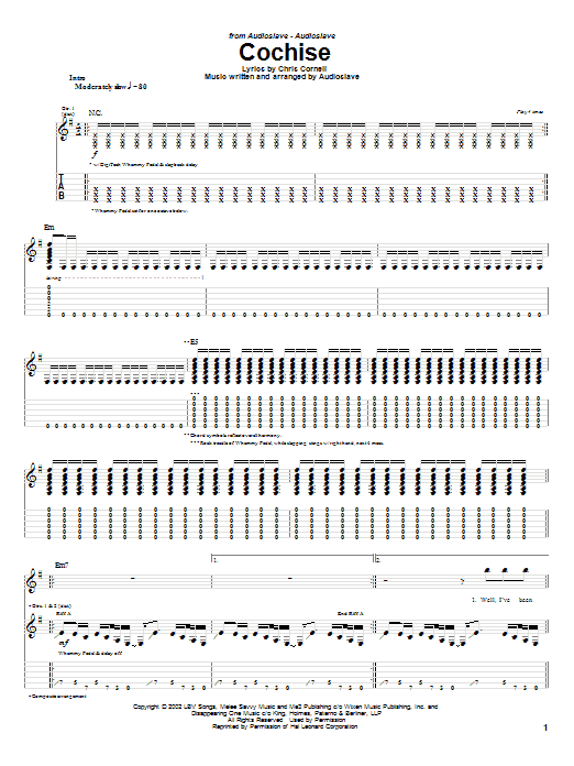 Audioslave Cochise sheet music notes and chords