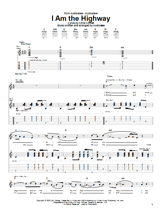 Audioslave I Am The Highway sheet music notes and chords