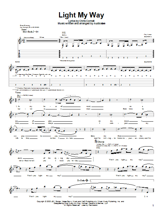 Audioslave Light My Way sheet music notes and chords