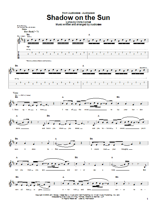 Audioslave Shadow On The Sun sheet music notes and chords