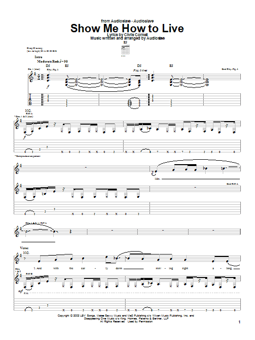 Audioslave Show Me How To Live sheet music preview music notes and score for Bass Guitar Tab including 4 page(s)