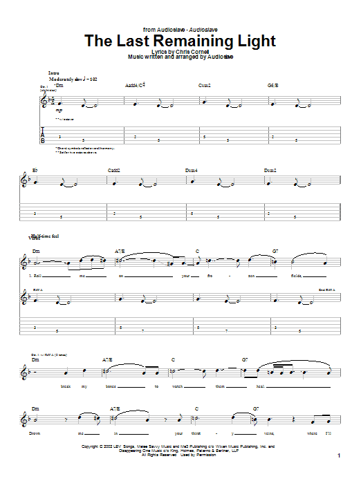 Audioslave The Last Remaining Light sheet music notes and chords