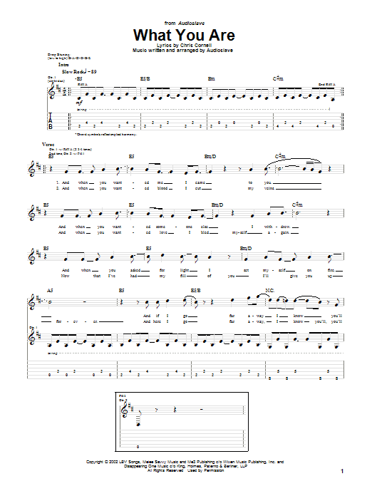 Audioslave What You Are sheet music notes and chords