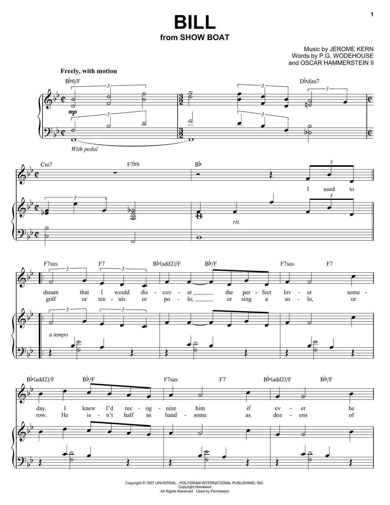 Audra McDonald Bill sheet music preview music notes and score for Piano, Vocal & Guitar (Right-Hand Melody) including 4 page(s)