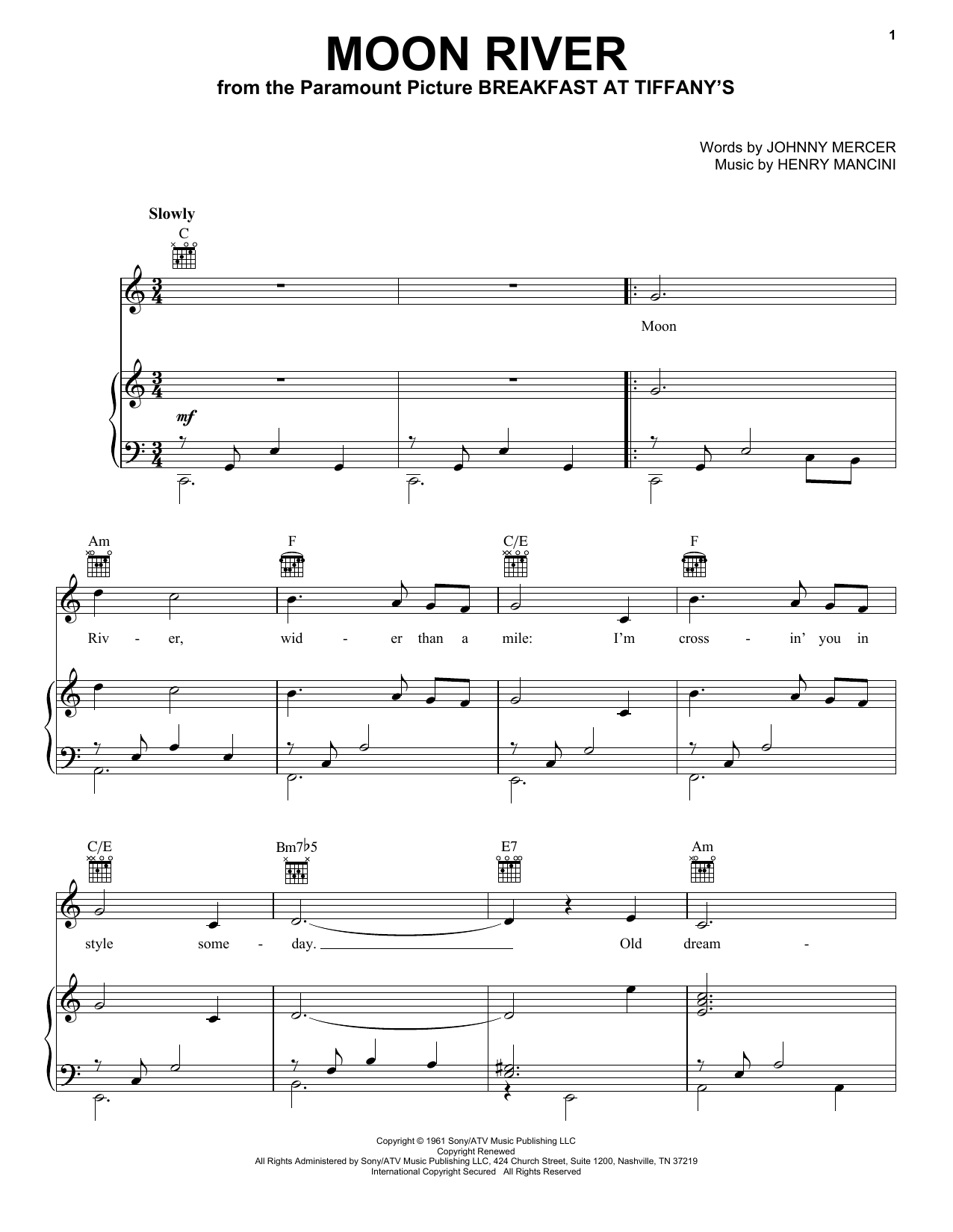 Andy Williams Moon River sheet music preview music notes and score for Piano, Vocal & Guitar (Right-Hand Melody) including 3 page(s)