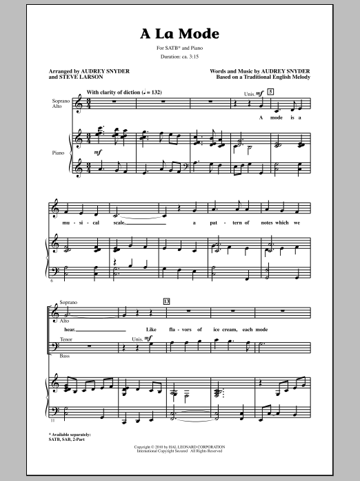 Download Audrey Snyder 'A La Mode' Digital Sheet Music Notes & Chords and start playing in minutes