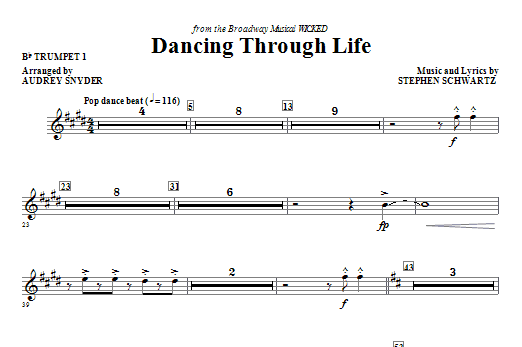 Download Audrey Snyder 'Dancing Through Life - Bb Trumpet 1' Digital Sheet Music Notes & Chords and start playing in minutes