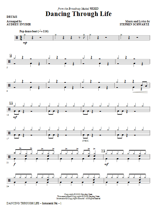 Download Audrey Snyder 'Dancing Through Life - Drums' Digital Sheet Music Notes & Chords and start playing in minutes
