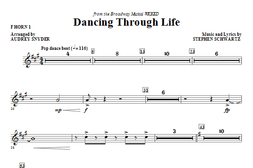 Download Audrey Snyder 'Dancing Through Life - F Horn 1' Digital Sheet Music Notes & Chords and start playing in minutes