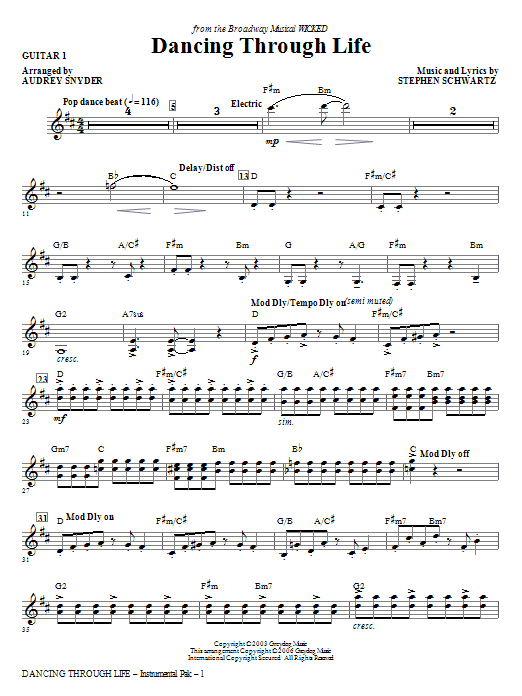 Download Audrey Snyder 'Dancing Through Life - Guitar 1' Digital Sheet Music Notes & Chords and start playing in minutes