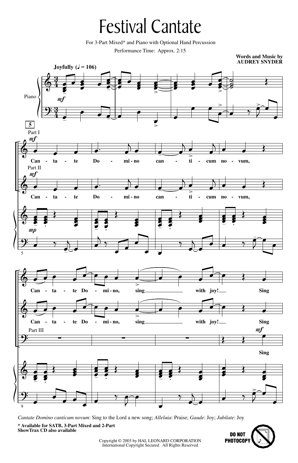 Download Audrey Snyder 'Festival Cantate' Digital Sheet Music Notes & Chords and start playing in minutes