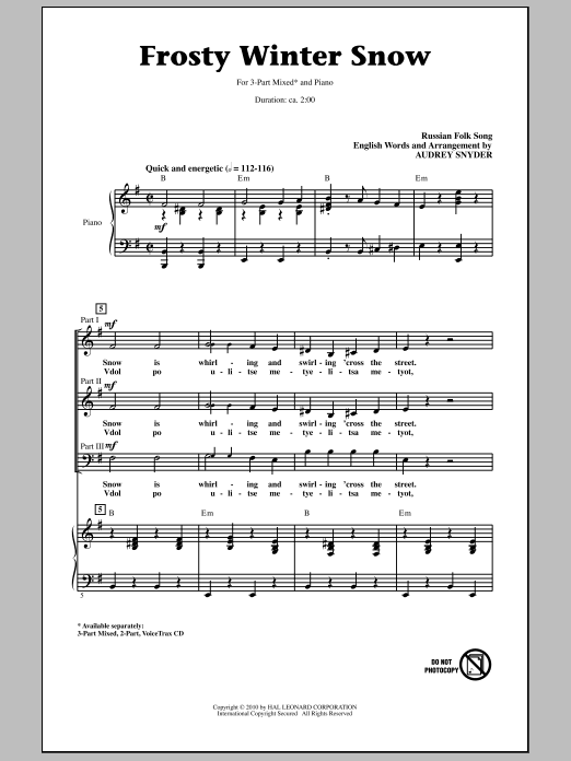 Download Audrey Snyder 'Frosty Winter Snow' Digital Sheet Music Notes & Chords and start playing in minutes