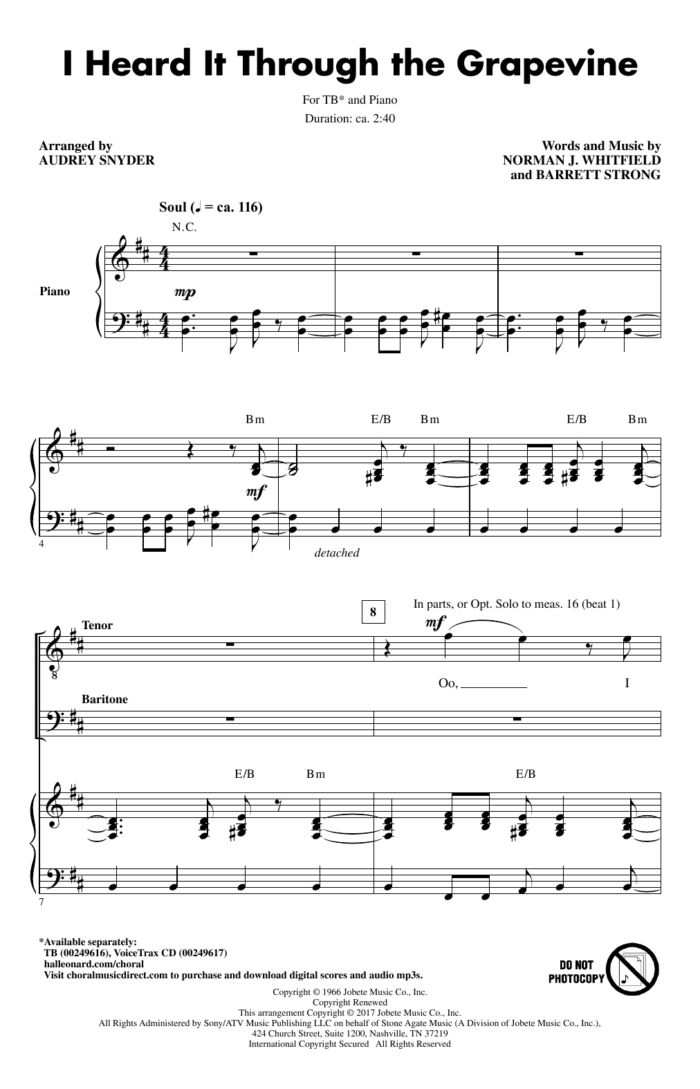 Download Audrey Snyder 'I Heard It Through The Grapevine' Digital Sheet Music Notes & Chords and start playing in minutes