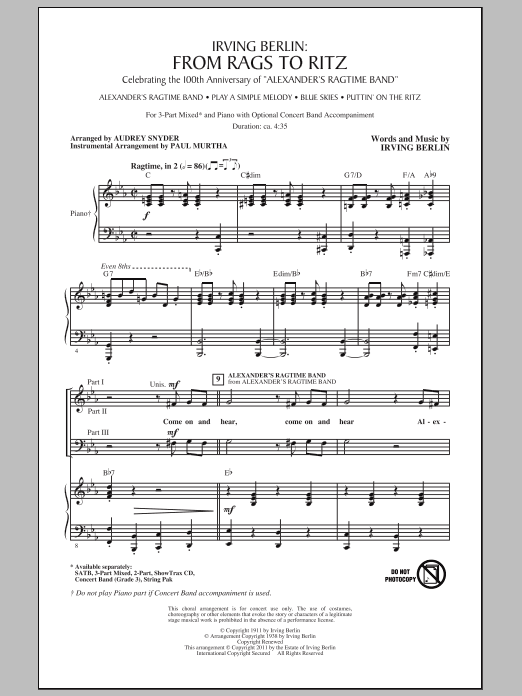 Audrey Snyder I Love Ragtime (Medley) sheet music notes and chords