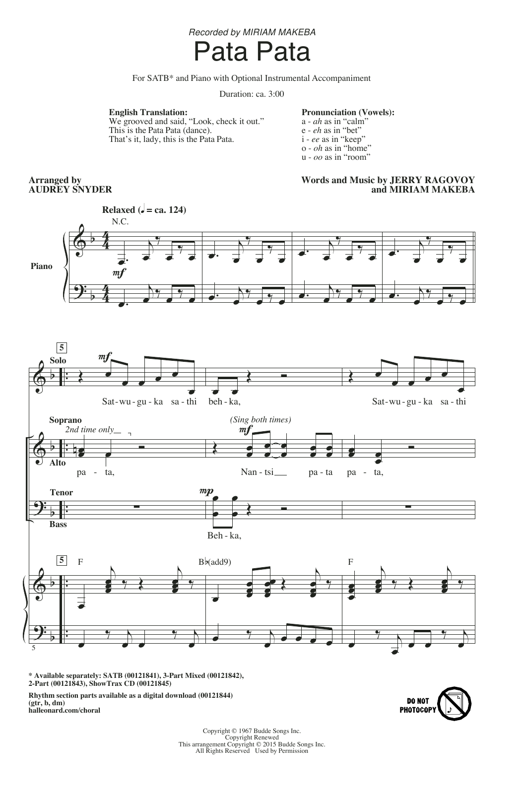Download Audrey Snyder 'Pata Pata' Digital Sheet Music Notes & Chords and start playing in minutes