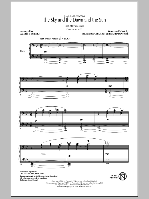 Download Audrey Snyder 'The Sky And The Dawn And The Sun' Digital Sheet Music Notes & Chords and start playing in minutes
