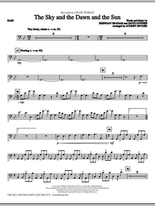 Download Audrey Snyder 'The Sky And The Dawn And The Sun - Bass' Digital Sheet Music Notes & Chords and start playing in minutes