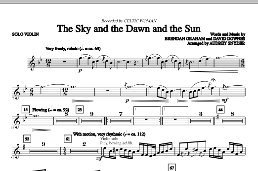 Download Audrey Snyder 'The Sky And The Dawn And The Sun - Solo Violin' Digital Sheet Music Notes & Chords and start playing in minutes