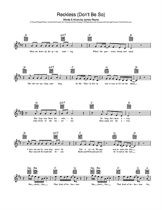 Australian Crawl Reckless (Don't Be So) sheet music preview music notes and score for Melody Line, Lyrics & Chords including 2 page(s)