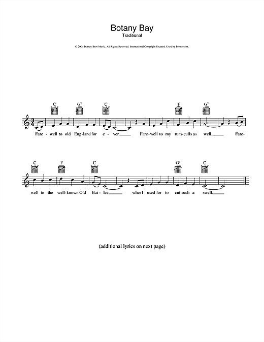 Australian Folksong Botany Bay sheet music preview music notes and score for Melody Line, Lyrics & Chords including 2 page(s)