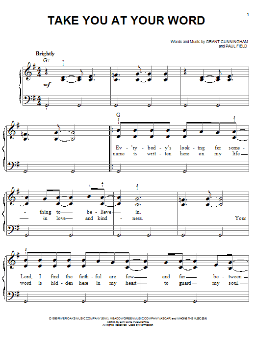 Avalon Take You At Your Word sheet music notes and chords