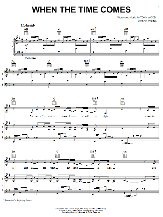 Avalon When The Time Comes sheet music preview music notes and score for Piano, Vocal & Guitar (Right-Hand Melody) including 7 page(s)