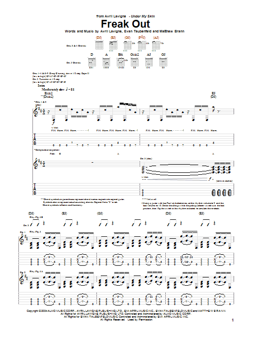 Avril Lavigne Freak Out sheet music preview music notes and score for Piano, Vocal & Guitar (Right-Hand Melody) including 5 page(s)
