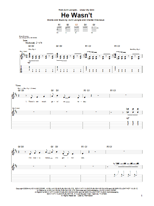 Avril Lavigne He Wasn't sheet music preview music notes and score for Piano, Vocal & Guitar (Right-Hand Melody) including 7 page(s)