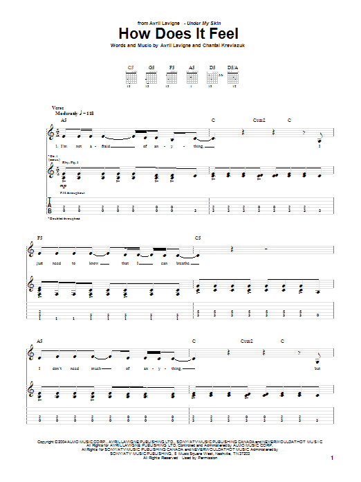 Avril Lavigne How Does It Feel sheet music preview music notes and score for Piano, Vocal & Guitar (Right-Hand Melody) including 7 page(s)
