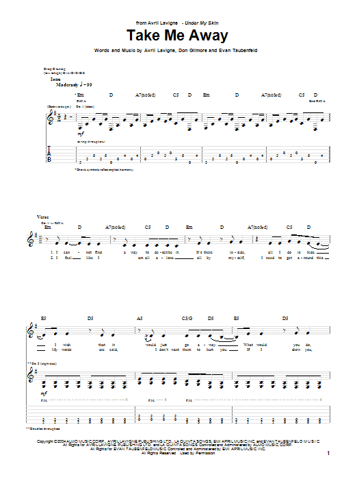 Avril Lavigne Take Me Away sheet music preview music notes and score for Piano, Vocal & Guitar (Right-Hand Melody) including 4 page(s)