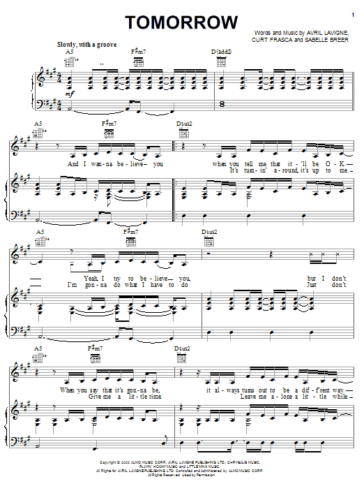 Avril Lavigne Tomorrow sheet music preview music notes and score for Piano, Vocal & Guitar (Right-Hand Melody) including 5 page(s)