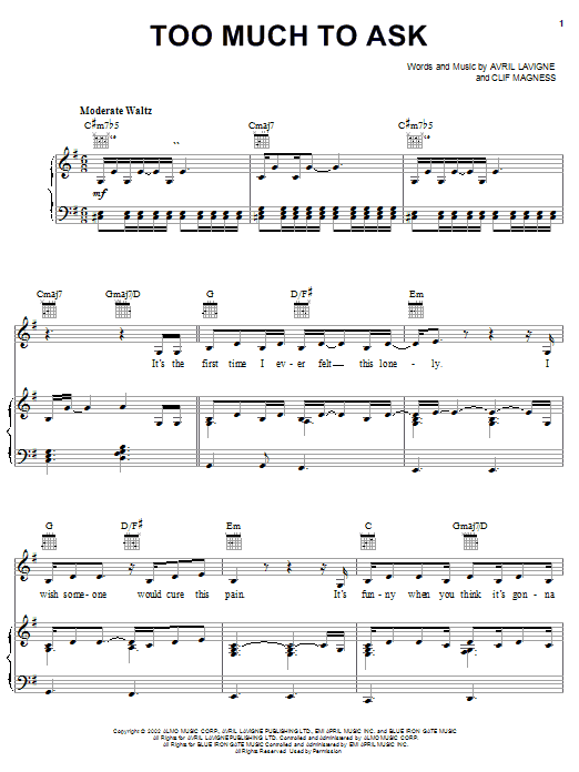 Avril Lavigne Too Much To Ask sheet music notes and chords