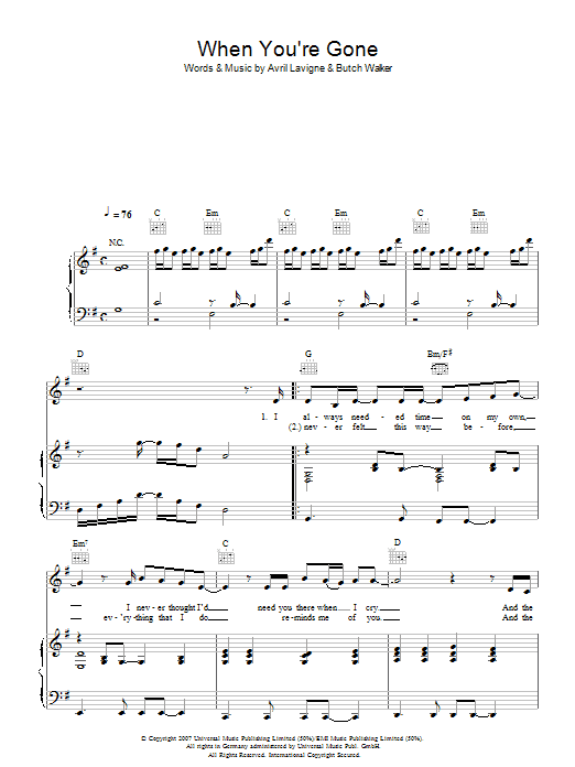 Avril Lavigne When You're Gone sheet music preview music notes and score for Piano, Vocal & Guitar including 6 page(s)