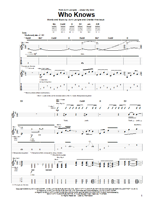 Avril Lavigne Who Knows sheet music preview music notes and score for Piano, Vocal & Guitar (Right-Hand Melody) including 6 page(s)