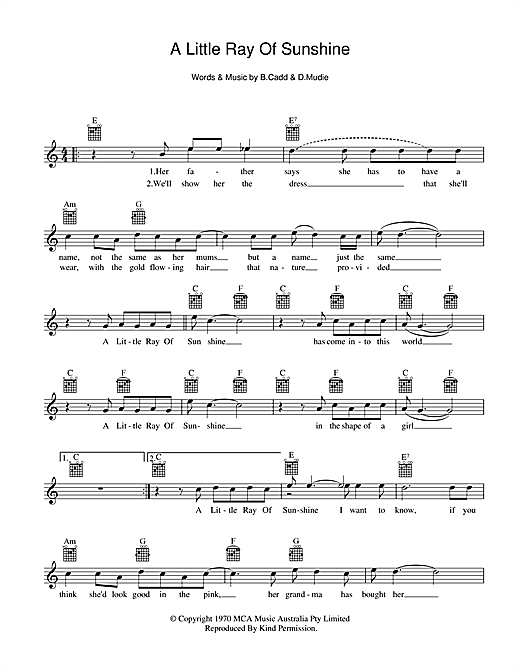 Axiom A Little Ray Of Sunshine sheet music preview music notes and score for Melody Line, Lyrics & Chords including 2 page(s)