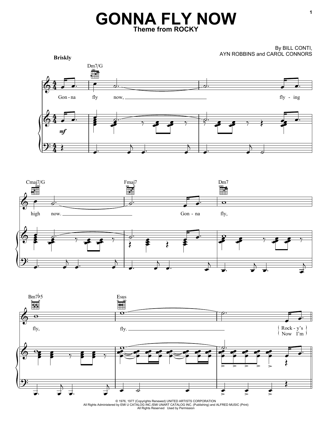 Ayn Robbins Gonna Fly Now sheet music preview music notes and score for Piano including 3 page(s)