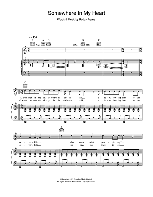 Download Aztec Camera 'Somewhere In My Heart' Digital Sheet Music Notes & Chords and start playing in minutes