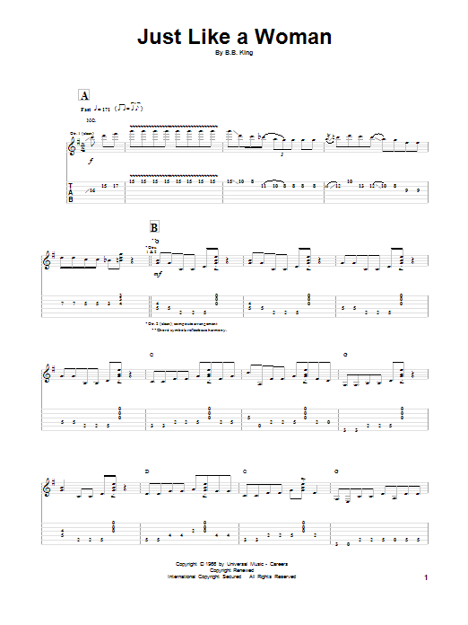 B.B. King Just Like A Woman sheet music preview music notes and score for Guitar Tab including 9 page(s)