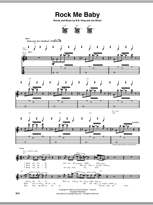 B.B. King Rock Me Baby sheet music preview music notes and score for Guitar Tab including 4 page(s)