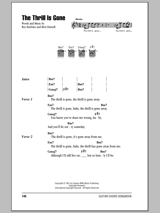 B.B. King The Thrill Is Gone sheet music preview music notes and score for Guitar Tab including 7 page(s)